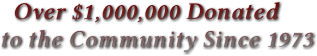 Over $1,000,000 Donated to the Community Since 1973